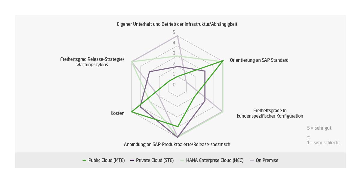 Die Grafik zeigt eine ungefähre Einschätzung der Vor- und Nachteile der unterschiedlichen S/4Hana-Betriebsmodelle